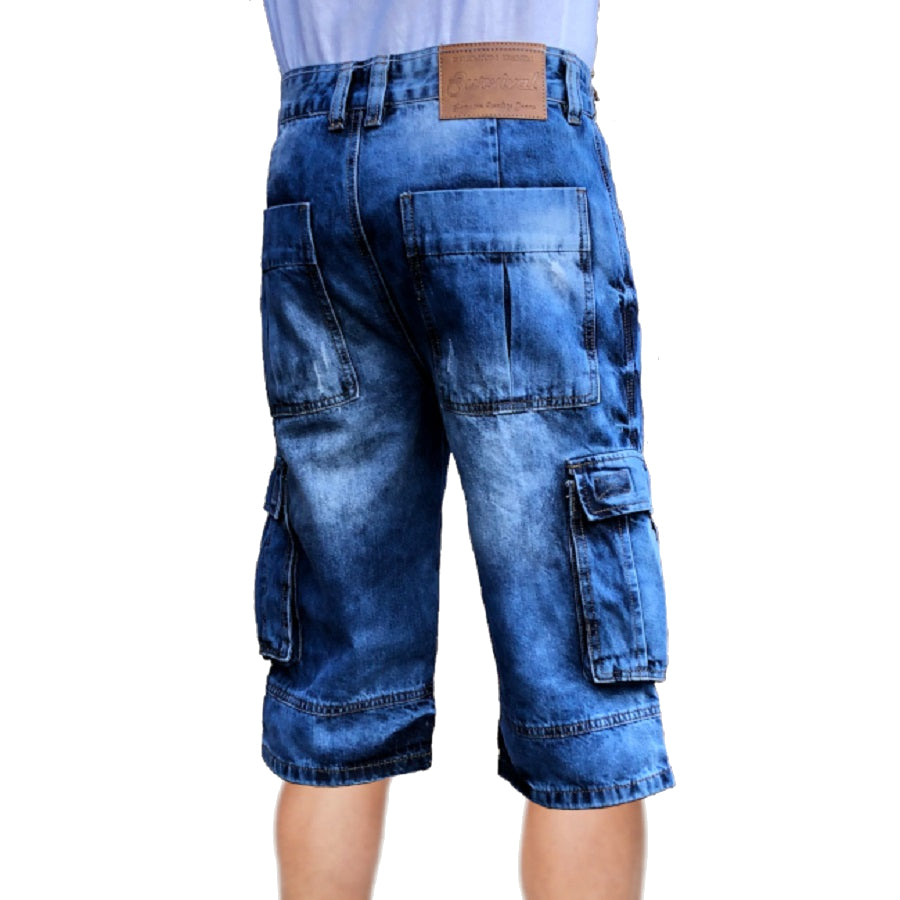 Mens Biker Denim Cargo Shorts Long Length Right Side
