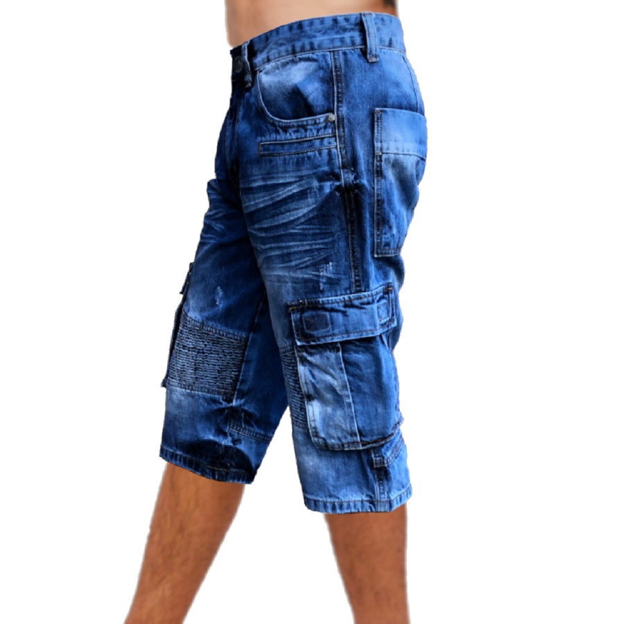 Mens Biker Denim Cargo Walk Shorts