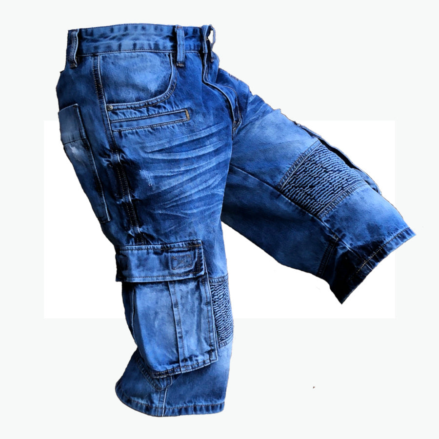 Mens Biker Denim Cargo Shorts Long Length Soft Flexible