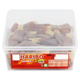 Haribo Giant Cola Z!ng Bottles 10p Tub 816g