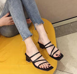 Sexy Cut Out Open Toe Platform Slides Summer Hoof Heels