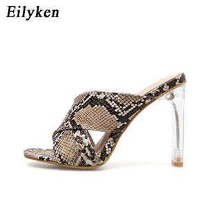 Leopard Sandals Sexy Crystal Square heel