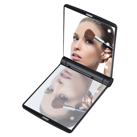 Foldable Makeup Mirrors Lady Cosmetic Hand Folding Portable Compact Pocket Mirror 8 LED Lights Lamps
