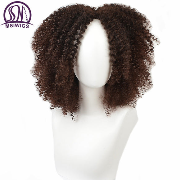 MSIWIGS Brown Synthetic Curly Wigs
