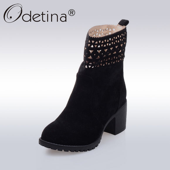Odetina Sexy Hollow Out Ankle Boots Women