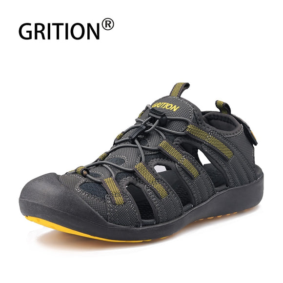 GRITION Men Sandals Leather Hiking Outdoor Flat Sandals Summer Breathable Sport Walking Trekking Comfort Beach Shoes Big Size 46
