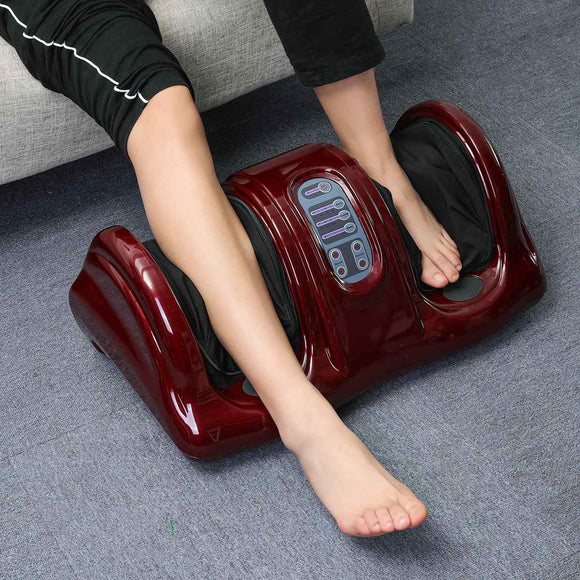 110/220V Electric Heating Foot Body Massager Shiatsu Kneading Roller Vibrator Machine Reflexology Calf Leg Pain Relief Relax