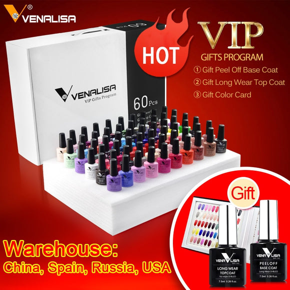 #61508 Venalisa VIP SET KIT 60 Colors Color Gel A Set Base/Top Gel Professional Nail Art Gel Beatiful Long-lasting Gel Polish