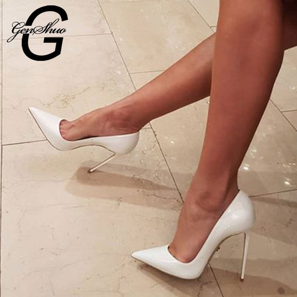 GENSHUO White High Heels Stiletto Pumps