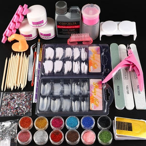 COSCELIA 120ML Acrylic Liquid Manicure Set Acrylic Nail Kit Acrylic Powder Nail Kit Professional Set Nail Art Decorations