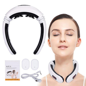 1pcs Cervical Neck Massager Electric Pulse Back and Neck Massager Far Infrared Heating Pain Relief Tool Health Care Relaxation