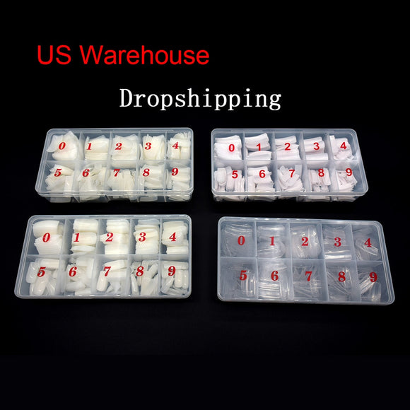 False Nail Tips 500PCS Natural Capsule Ongle Transparent Fake Nails Overhead Manicure Acrylic Detachable French Nail Tips