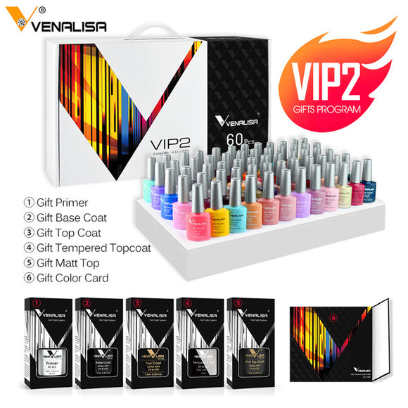 2020 new 60 fashion color Venalisa gel polish enamel vernish color gel polish for nail art design whole set nail gel learner kit