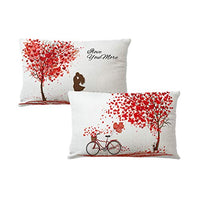 "7COLORROOM 2Pack Happy Valentine's Day Pillow Cover Red Heart Tree Maple Leaves with Love Bicycle Rectangular/Waist Cushion Cover Romantic Gift Home Decorative Cotton Linen Pillowcases 12""×20"" (Red)"