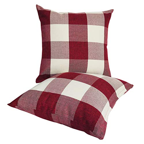 ULOVE LOVE YOURSELF Farmhouse Decor Throw Pillow Covers Rustic Yellowish-Brown Buffalo Check Plaid Linen Pillowcases Home Decorative Cushion Cover 18 x 18 Inches,2Pack(TW- Yellowish-Brown)