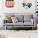 "Capsule Pasadena Mid Century Modern 78"" Sofa with USB Ports, Light Grey Linen"
