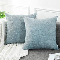 AmHoo Cotton Linen Throw Pillow Cover Double Side Tone Woven Square Cushion Covers Pillowcase for Couch Sofa Bed,2 Pack,12 x 20 Inches,Gray