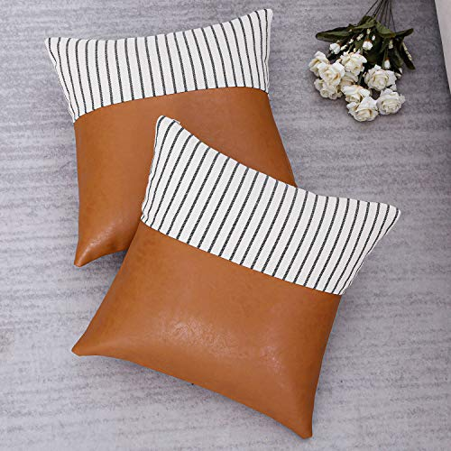 Topfinel Decorative Throw Pillow Covers 20 X 20 Inch for Couch Bed Car Faux Leather and Cotton Linen Cushion Cover with Stripes 50 X 50 cm for Holiday Party Home Decor, Pack of 2, Tan