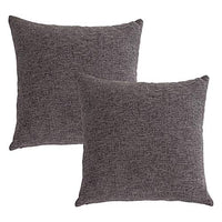 Stellhome Burlap Throw Pillow Covers Square Solid Linen Cushion Covers for Bed Couch Sofa Bench, 18 x 18 inch (45 cm), Grey, Set of 2