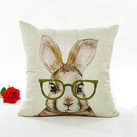 Gemira Happy Easter Pillow Covers Funny Rabbits with Glasses Bunnies Pirnt Cotton Linen Throw Pillow Case Cushion Cover Happy Easter Spring Season's Decorations for Sofa Bed 18x18 Inch