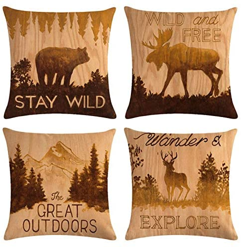 "4 PCS - 18"" x 18"" Rustic Wood Grain Throw Pillow Covers, Decorative Retro Cotton Linen Cushion Covers with Bear, Dear, Mountain, Vintage Square Pillowcases Set for Sofa, Bed, Car"