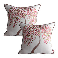Queenie® -2 Pc Llovely Embroidery Cotton Linen Decorative Throw Pillow Case Pillowcase Cushion Cover 18 X 18 Inch (45 X 45 Cm) (Pink Wish Tree, Set of 2)