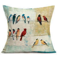 Hopyeer Vintage Wood Bird Pillow Covers, Lots of Watercolor Bird Cotton Linen Cushion Cover Square Standard Home Decorative Throw Pillow Case for Men/Women 18x18 Inch (Wood Birds)