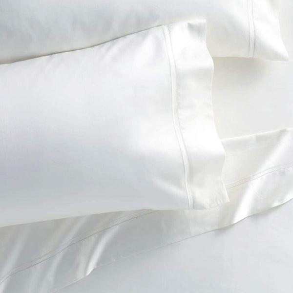 Westbrooke Linens 400 Thread Count 100% Long-Staple Cotton Pleated Hem Pillowcase, Solid Sateen Weave, Wrinkle Free, Hotel Collection, Luxury Bedding Pillowcase (King, White)