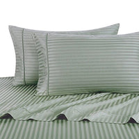 Exquisitely Lavish Sateen Stripe Weave Bedding by Pure Linens, 600 Thread Count 100-Percent Plush Cotton, 4 Piece Olympic Queen Size Deep Pocket Hemmed Sheet Set, Sage