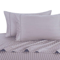 sheetsnthings Damask Stripes 300-Thread-Count, 100-Percent Cotton Queen Size Attached Waterbed Sheets Set, Lilac
