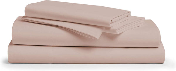 600 Thread Count 100% Cotton Sheet Blush Queen Sheets Set, 4-Piece Long-Staple Combed Pure Cotton Best Sheets for Bed, Breathable, Soft & Silky Sateen Weave Fits Mattress Upto 18'' Deep Pocket