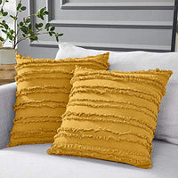 Longhui bedding Rust Throw Pillow Covers for Couch Sofa Bed, Cotton Linen Decorative Pillows Cushion Covers, 18 x 18 inches, Set of 2, Rust Color