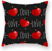 Maritown Soft Cotton Linen Throw Pillow Case Sofa Car Cushion Cover Home Bed Decor Valentine's Day Wedding Party Ornaments 45 x 45cm, Set of 4 (Black White Red Love Heart)
