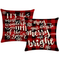 ULOVE LOVE YOURSELF 2Pack Merry Christmas Pillow Cover with Christmas Tree and Vintage Red Truck Pattern Cotton Linen Home Decorative Throw Cushion Case 20 x 20 inches