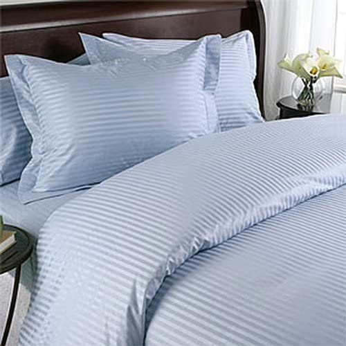 Grandeur Linens 800 Thread Count Four (4) Piece Olympic Queen Size Blue Stripe Bed Sheet Set, 100% Egyptian Cotton, Deep Pocket