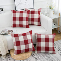 Yumin Throw Pillow Cases Red White Buffalo Checkers Plaids Throw Pillow Covers Cushion Cases Cotton Linen for Couch Bed Sofa Home Decor 18x18 Inch Set of 4