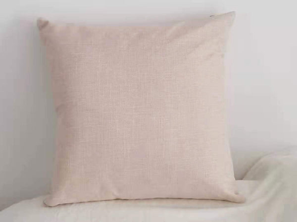 F-HOME Linen Cotton Throw Pillow Covers Beige Decorative Rustic Cushion Covers for Sofa/Bed, 18x18(45cm) (Rice White, 18x18)