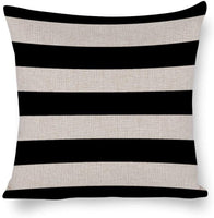 "wonbye Black and White Awning Stripes Cotton Linen Blend Square Decorative Throw Pillow Covers Case Cushion Pillowcase with Hidden Zipper Closure for Sofa Bench Bed Home Decor 22""X22"""