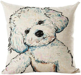 "INSHERE Cute Pet Dog Pattern Pack of 2 Throw Pillow Covers Cotton Linen Cushion Cover Pillowcases Sofa Home Decor 18""x 18"" (Dog 3)"
