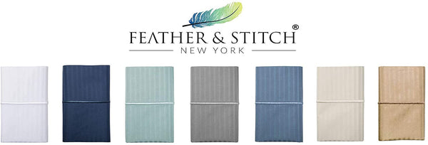 FEATHER & STITCH NEW YORK 500 Thread Count (Dark Blue, King Pillowcases)
