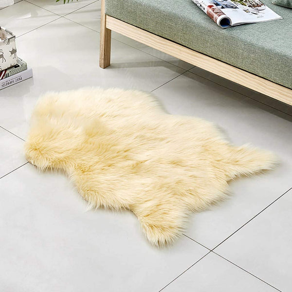 Shaggy Slip, Wool Imitation Sheepskin Rugs Faux Non Slip Bedroom Shaggy Carpet Mats, Autumn Home Carpet Bedroom Living Room Floor Mat