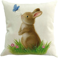 Easter Pillow Covers 18x18 Cuekondy 2019 Cute Rabbit Linen Throw Pillow Case Cushion Cover Sofa Bed Kids Room Home Easter Decoration (C-1)