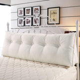 VERCART Large Soft Upholstered Headboard Sofa Bed Filled Triangular Bed Backrest Positioning Support Wedge Cushion Reading Pillow Office Lumbar Pad with Removable Cover 76 inch Linen Ivory