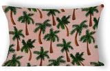 Yilooom Palm Tree Print Rectangle Decorative Cotton Linen Throw Pillow Case Cushion Cover Lumbar Pillowcase for Couch Sofa Bed 12 X 18 Inches