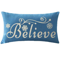 ITFRO Nice Mothers Sister Christmas Birthday Gift Believe Letters with Beautiful Snowflakes Waist Blue Cotton Burlap Linen Throw Pillowcase Cushion Cover Sofa Decorative Rectangle 12x20 Inches (Blue)