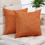 Anickal Set of 2 Fall Orange Pillow Covers Cotton Linen Decorative Square Throw Pillow Covers 20x20 Inch for Sofa Couch Decoration