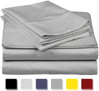 Linen Club Bedding 100% Cotton Split-Top-Queen (Adjustable Queen Bed Size Sheets) 300TC, Solid Dark Grey, Sateen Weave, 18 inch Deep Pocket, 4PC Bed Sheet Set