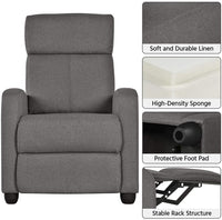 Yaheetech Fabric Recliner Chair Sofa Ergonomic Adjustable Single Sofa with Thicker Seat Cushion Modern Home Theater Seating for Living Room Gray