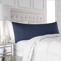 "Navy Blue Solid Cotton Body Pillowcases Set of 2-500 TC Cotton Pillow Covers,Long Staple Cotton Ultra Soft & Silky Sateen Weave Reduces Allergies and Respiratory Irritation (20""X60"")"