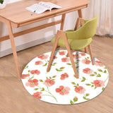 Round Area Rug, Non-Slip Washable Round Set of Linen Flowers Elements Blooms Painting Stock Illustrations Floor Mat Circle Carpet Rug Pad for Indoors Living Room Bedroom Laundry Room Gift Decor